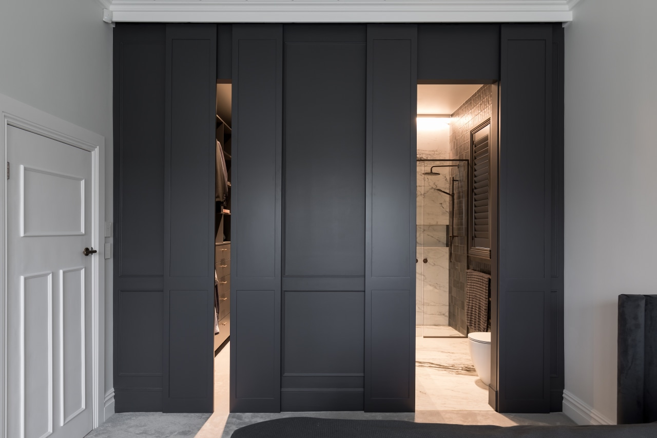 Panels line up with door heights to create