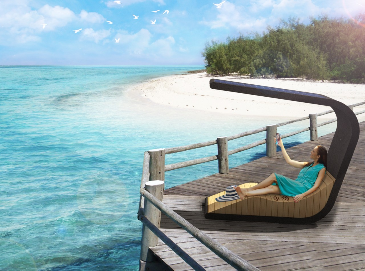 Sedi Pause – a sun lounger with a aqua, azure, caribbean, chaise longue, furniture, leisure, ocean, outdoor furniture, sea, sky, summer, sunlounger, tourism, tropics, turquoise, vacation, teal, white