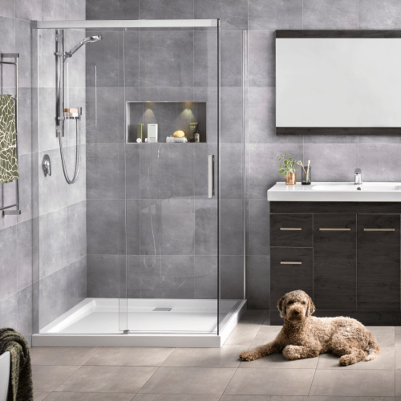 Make sure you choose tiles that are both bathroom, bathroom accessory, door, floor, flooring, interior design, plumbing fixture, room, tap, tile, gray