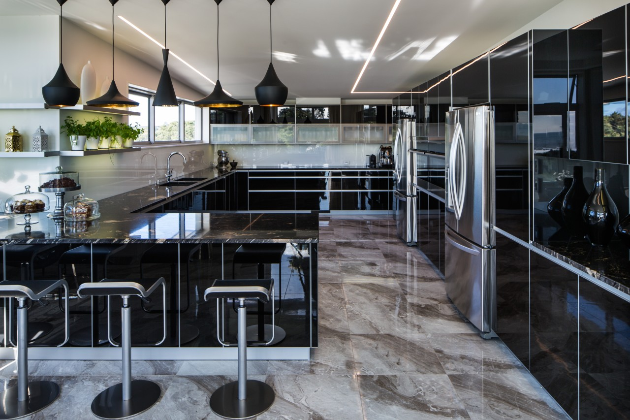 The owners were renovating their beach front property countertop, interior design, gray, black