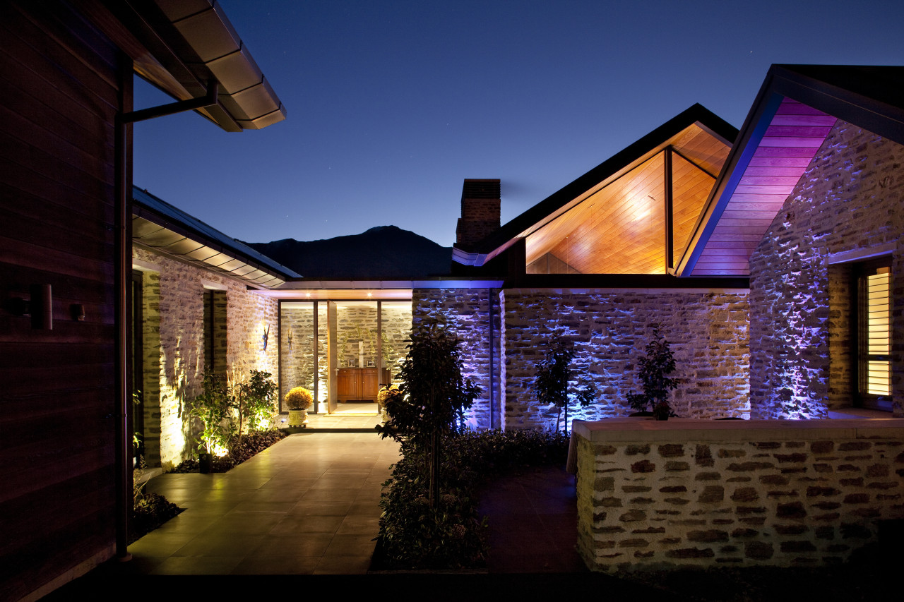 Nz2812 Mason And Wales 0123299 - architecture | architecture, cottage, estate, evening, facade, home, house, landscape lighting, light, lighting, night, property, real estate, residential area, roof, siding, sky, window, black