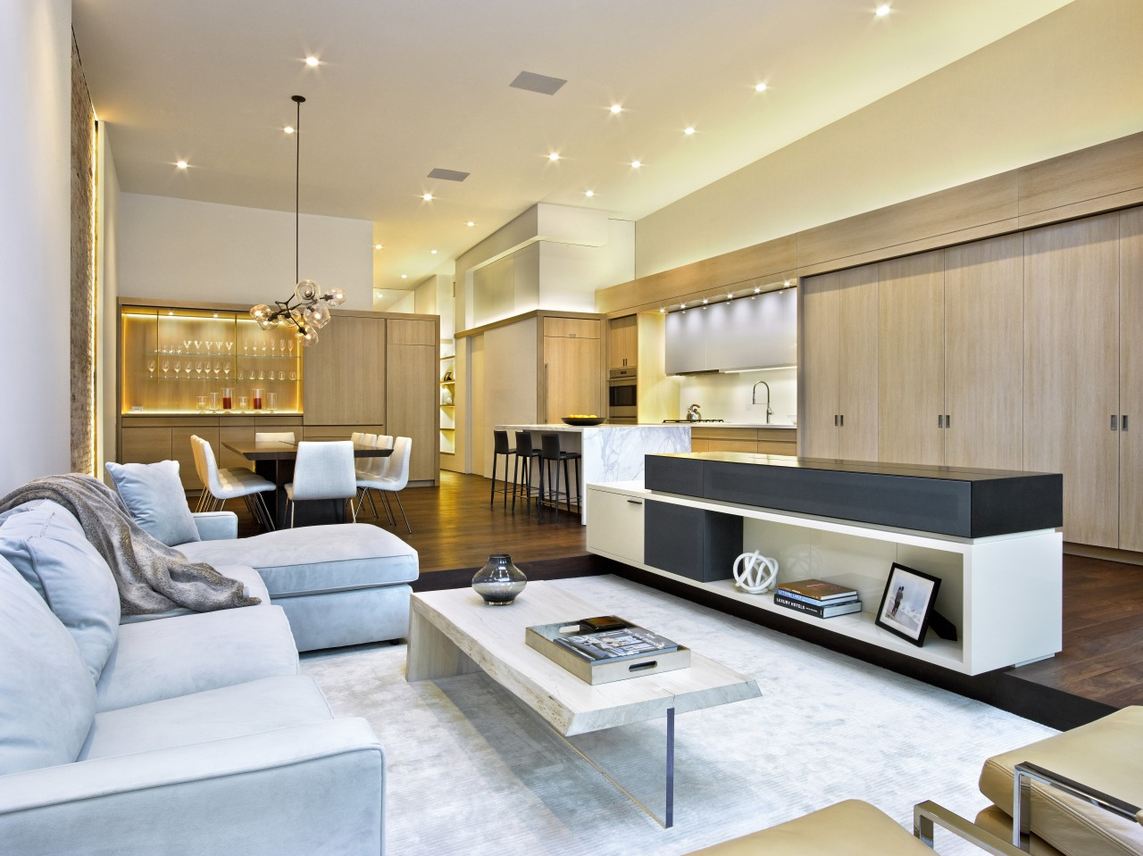 Integrated living spaces fulfil the client's desire for ceiling, interior design, living room, real estate, orange, white