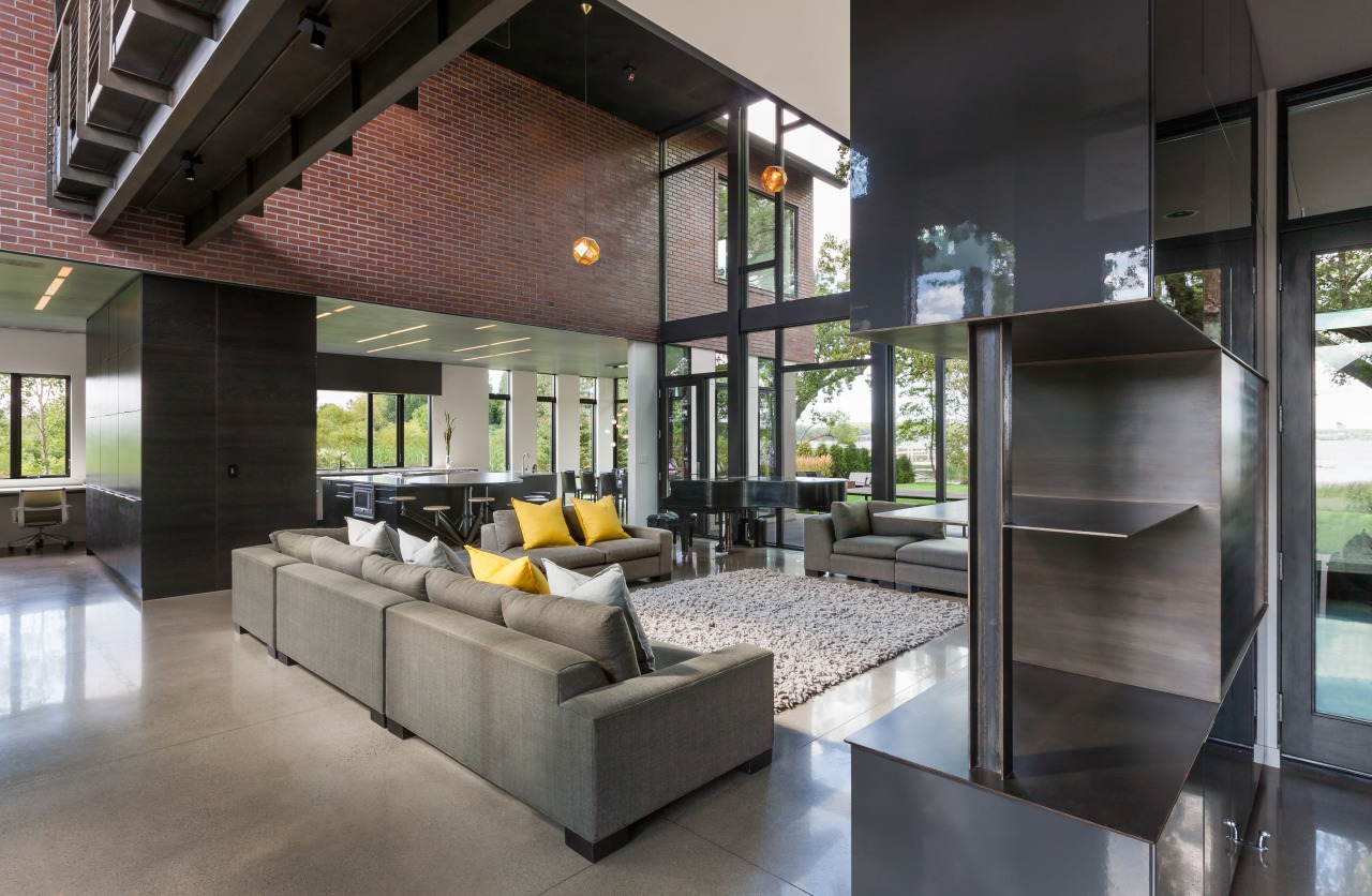 An interior look at the parents wing. house, interior design, living room, black, concrete, furniture, Altus Architecture