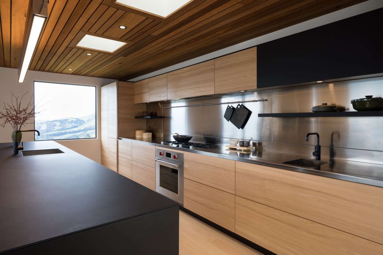 Flush sinks and a hob welded flush into architecture, cabinetry, countertop, cuisine classique, interior design, kitchen, real estate, brown