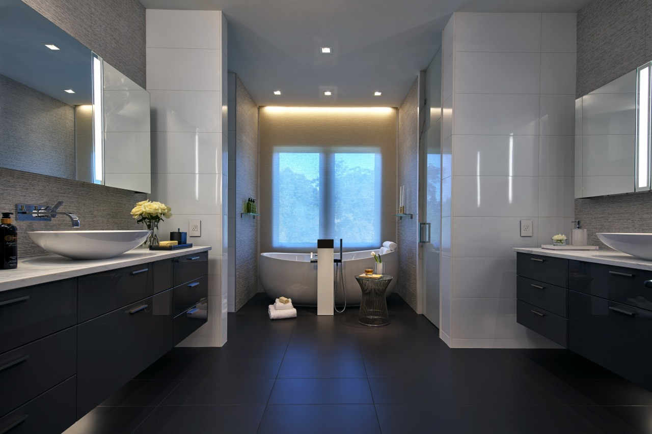 With wall-hung vanities to the left and to architecture, bathroom, cabinetry, countertop, daylighting, floor, interior design, kitchen, room, sink, tile, gray, black