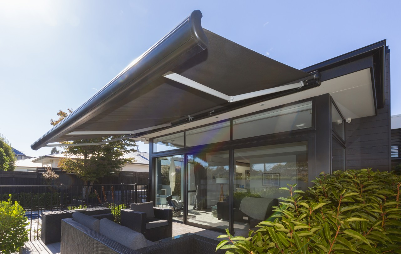 Modern design, quality fixings and premium acrylic canvas architecture, canopy, house, property, real estate, roof, shade, black
