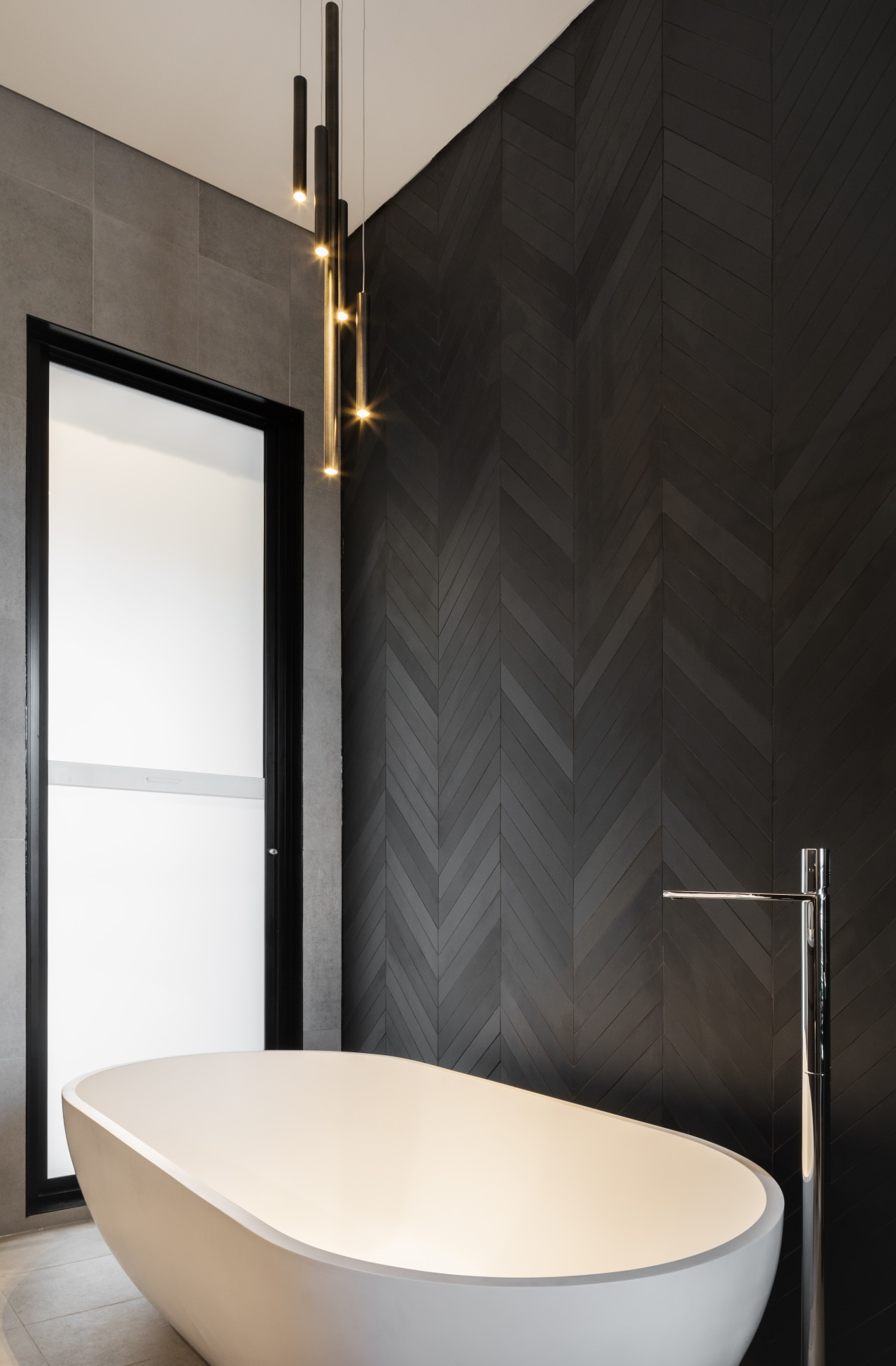 ​​​​​​​This new bathroom partially steps outside the original bathroom, floor tiles, bathroom designer, tap, tile, black, white, basin