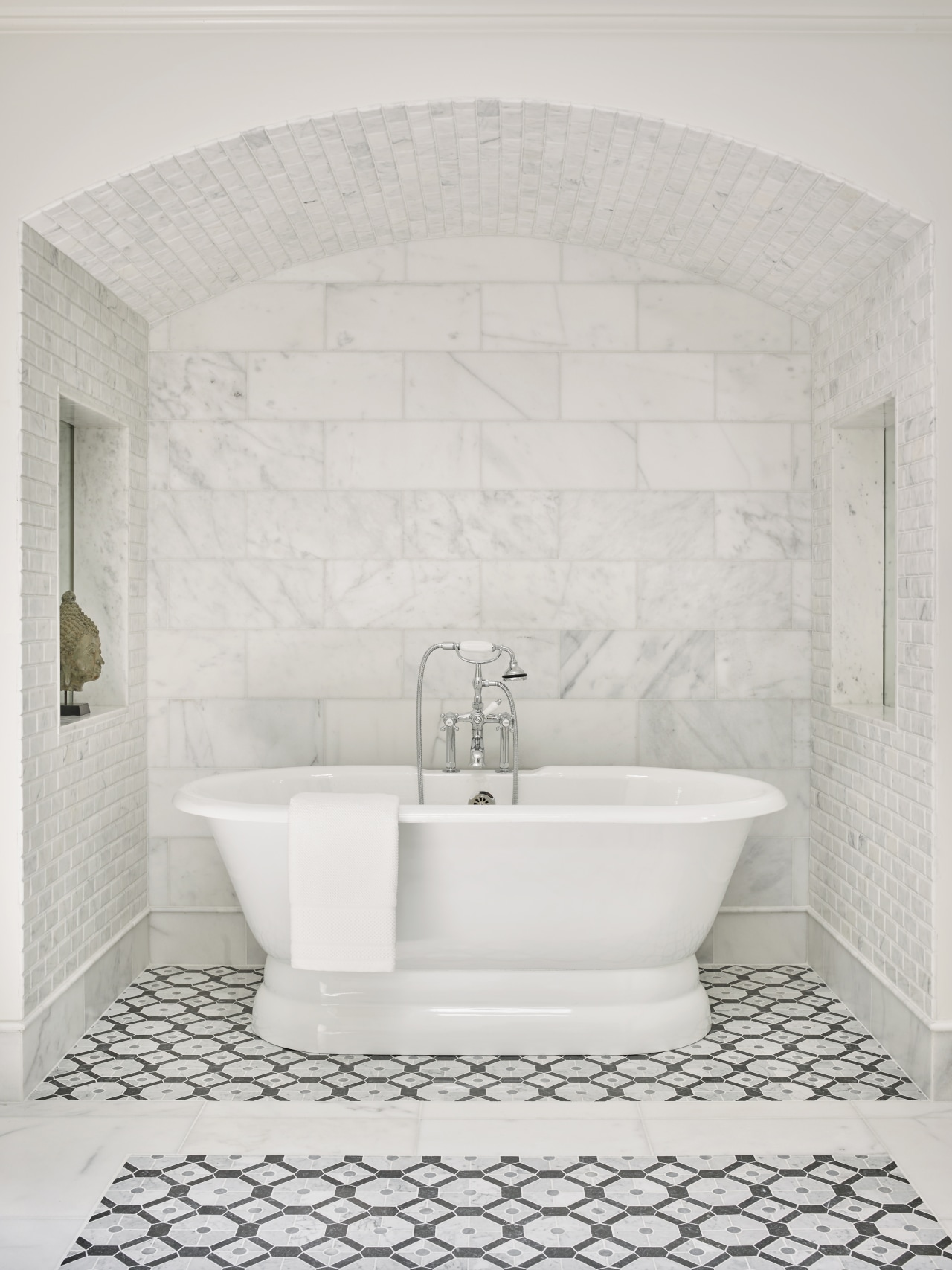 ​​​​​​​A freestanding bath tub with chunky chrome fittings bathroom, ceramic, floor, flooring, plumbing fixture, tap, tile, wall, white, Freestanding bath, Mark Williams Design