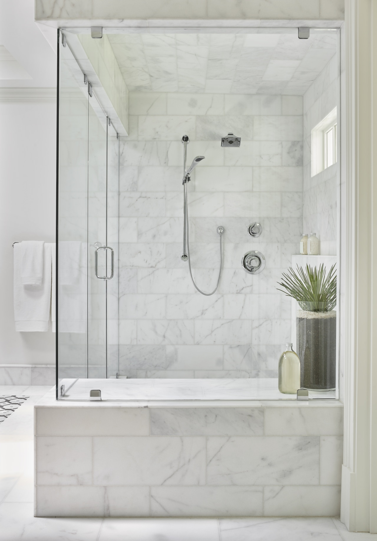 ​​​​​​​The large-sized shower in this master suite by bathroom, floor, plumbing fixture, shower, shower door, tap, tile, wall, bathroom designer, Mark Willaims Design
