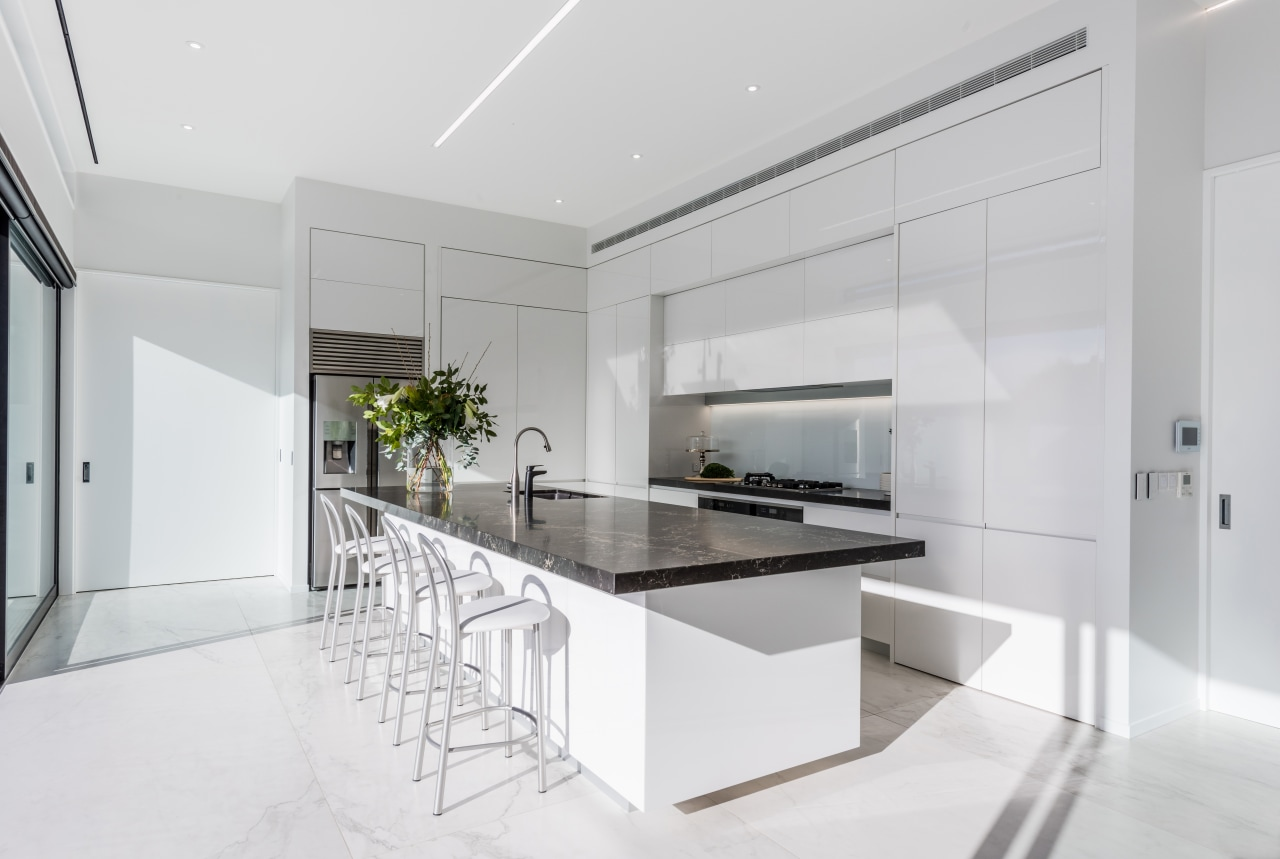The fridge is set to the side of architecture, countertop, benchtop, interior design, kitchen, white cabinetry,  Ceasarstone, Island, Emma Morris, Eterno Design