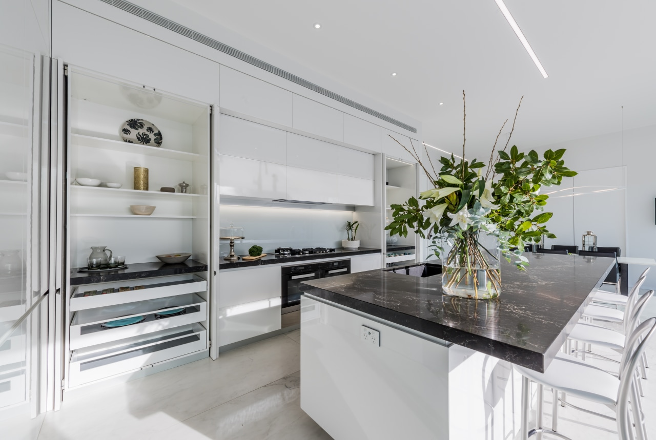 This kitchen features two tall wall cabinets, to countertop, interior design, kitchen, white cabinetry, Ceasarstone benchtops, countertop, Emma Morris, Eternodesign,
