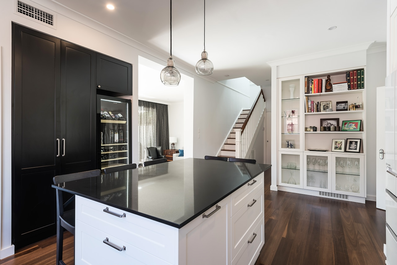 When doors open to your kitchen from all cabinetry, countertop, interior design, kitchen, IL Design, cabinetry, black, white, ceasarstone, timber flooring, open shelving