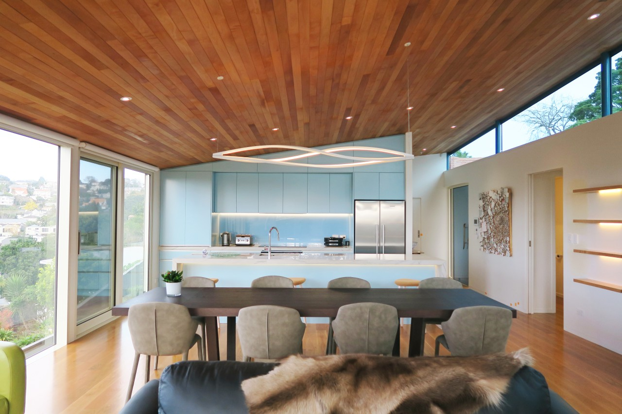In this kitchen, the pale blue tone seen architecture, home, house, interior design, living room, window, kitchen, Frans Kamermans, timber floor, ceiling, lighting, leds, pendants