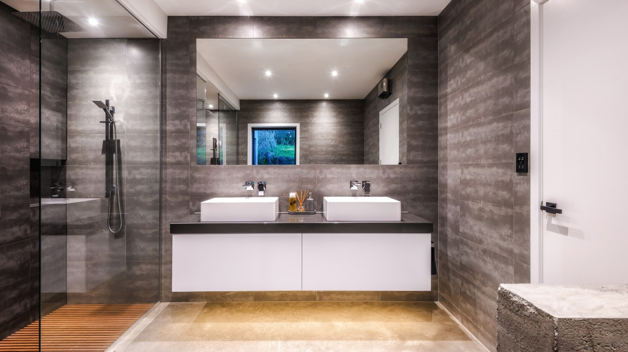 ​​​​​​​Designer Kirsty Davis adjusted the initial plan for bathroom, interior design, vanity, Kirsty Davis, master suite, grey tiles, double shower