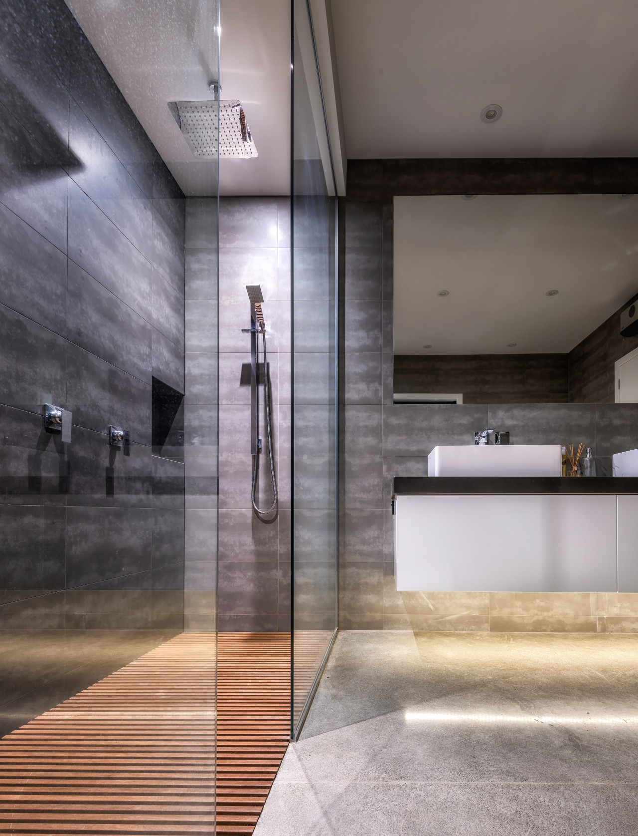 Lightly patterned grey tiles in this bathroom tie architecture, floor, flooring, interior design, Kirsty Davis, Master suite, walk in shower, double vanity