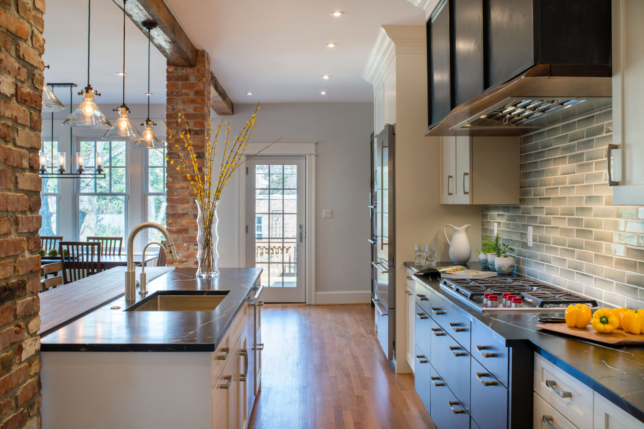​​​​​​​Contemporary appliances and modern treatments on some cabinetry benchtop, home, interior design, kitchen, appliances, timber floor, tap