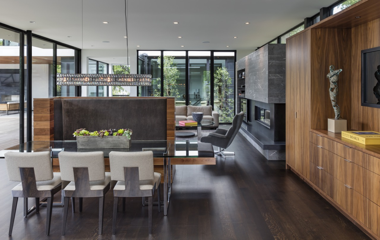 The main living pavilion in this home is house, interior design, kitchen, living room, timber floor, kitchen, dining