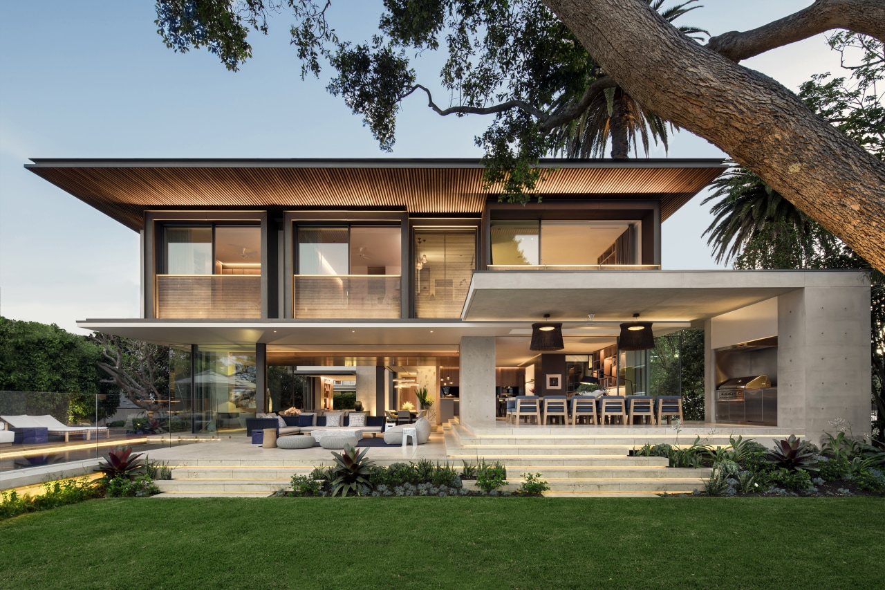 Cantilevered ceilings on this new home protect and architecture, elevation, facade, home, house, window, gray, contemporary, SAOTA