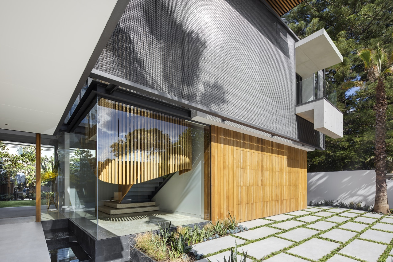 ​​​​​​​This home's staircase is set within a glass architecture, facade, home, house, SAOTA, entranceway, exterior