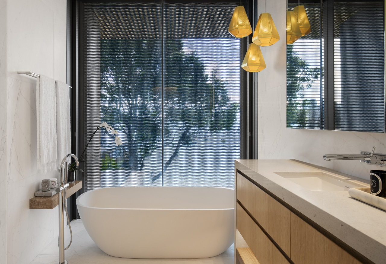 ​​​​​​​Kaynemail mesh panels placed outside this ensuite bathroom bathroom, ensuite, home, interior design, window, freestanding bath, SAOTA