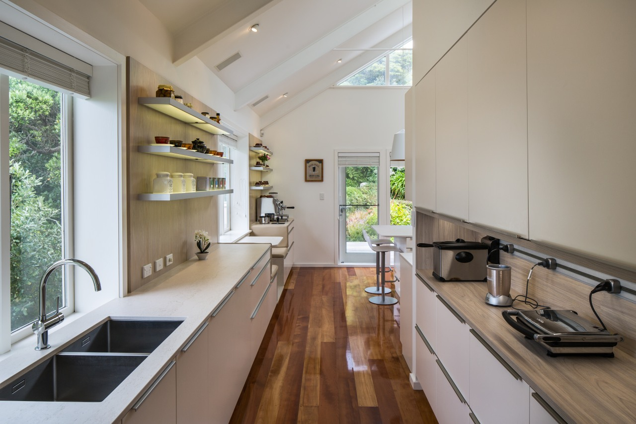 ​​​​​​​Originally an office, now part of the kitchen, architecture, benchtop, house, interior design, kitchen, alno,  Damien Hannah, German Kitchens, Timber floor