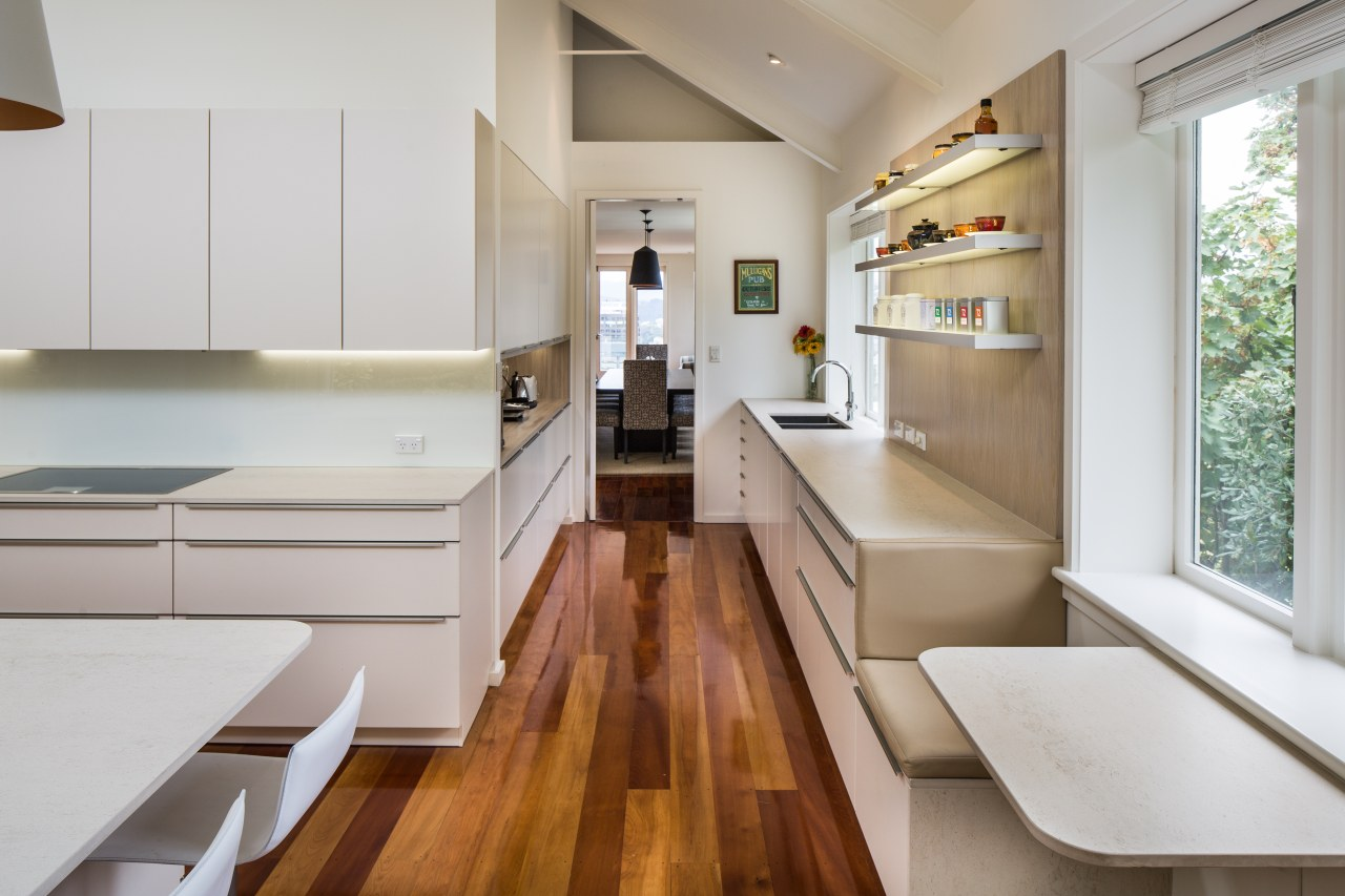 As part of this kitchen design, the owners benchtop, timber floor, interior design, kitchen, Damien Hannah, German Kitchens