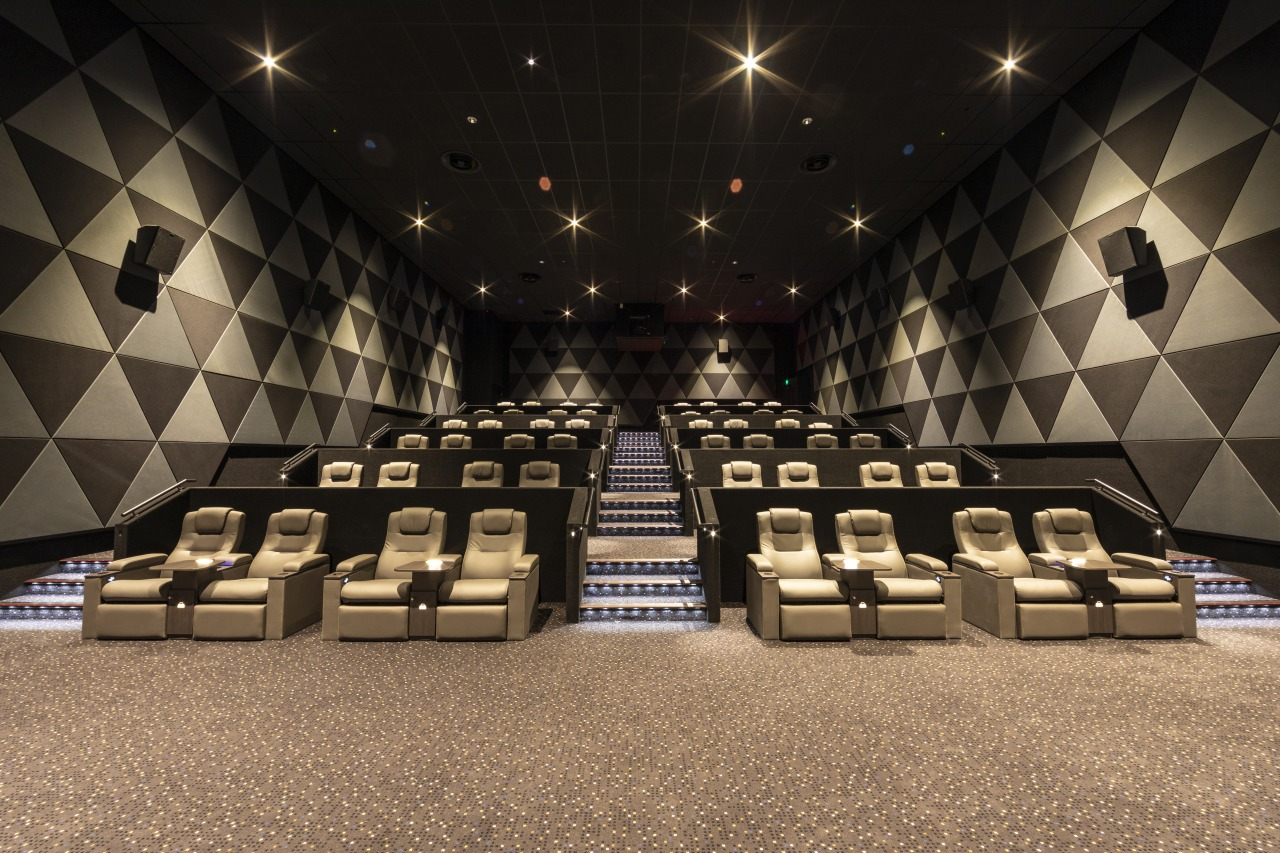 Phones off, lights down, popcorn open and the auditorium, flooring, function hall, interior design, black, brown