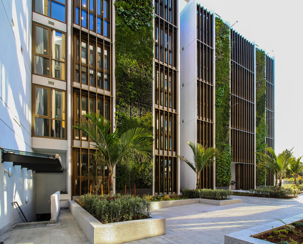 A 330m² lush feature wall earned the high-end apartment, residences,  architecture, building, commercial building, condominium, corporate headquarters, facade, headquarters, property, urban design, St Marks Residences, Homestar Innovation, Dominion constructors