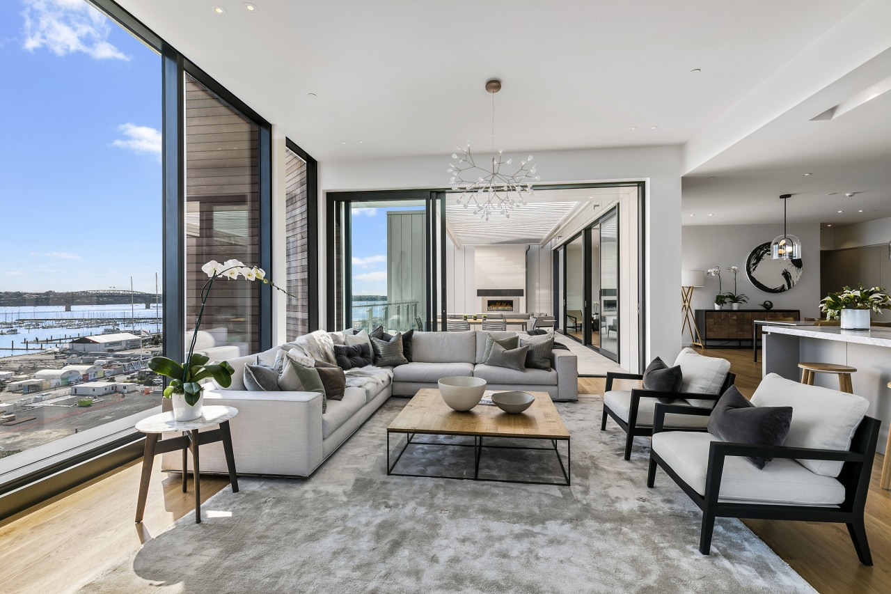 Wynyard Central apartments benefit from interiors finished in apartment, home, interior design, living room, penthouse apartment, Resene paint, Wan White, Wynyard Central, neutral colour palette