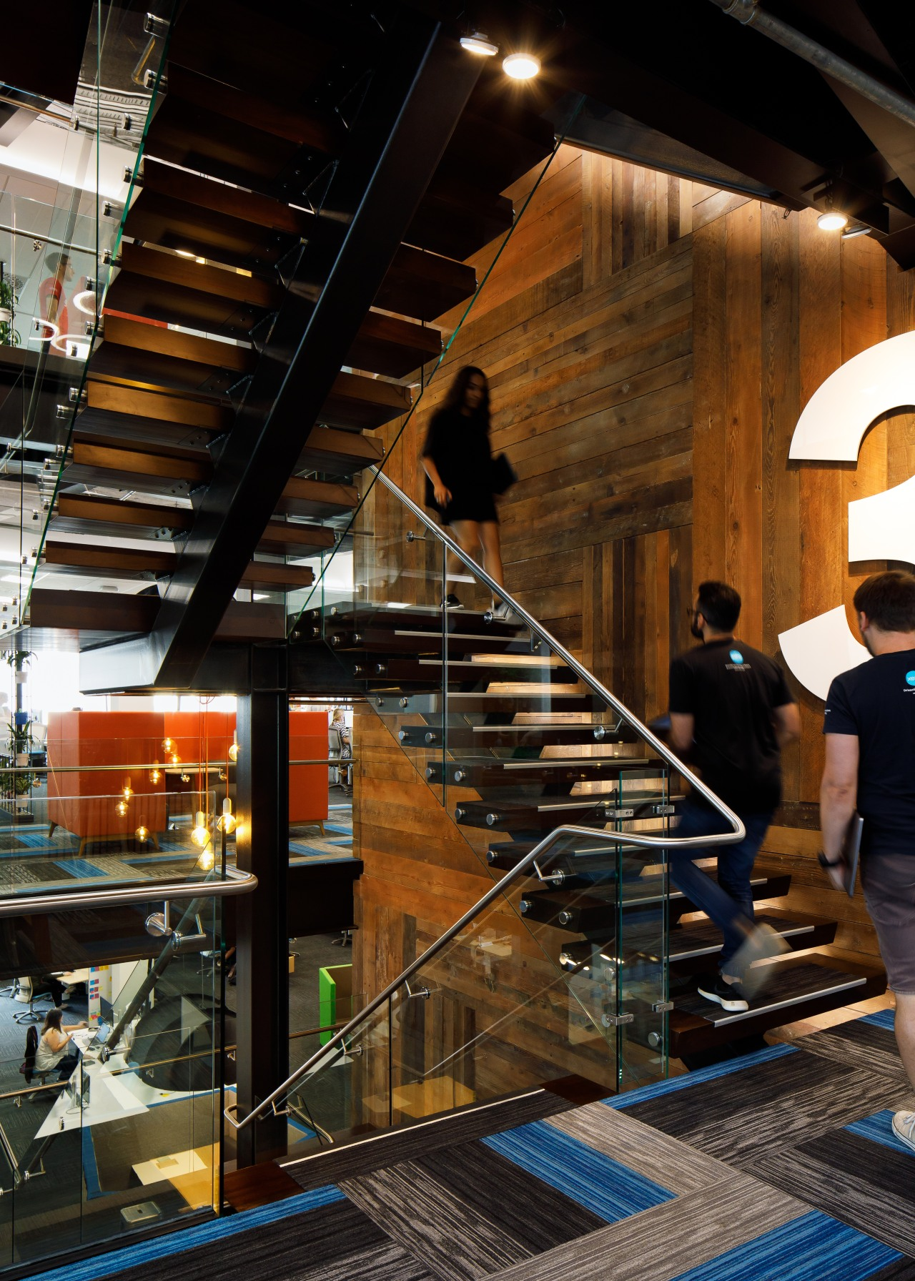 Old meets new – the blackened steel staircase architecture, building, handrail, stairs, black, brown
