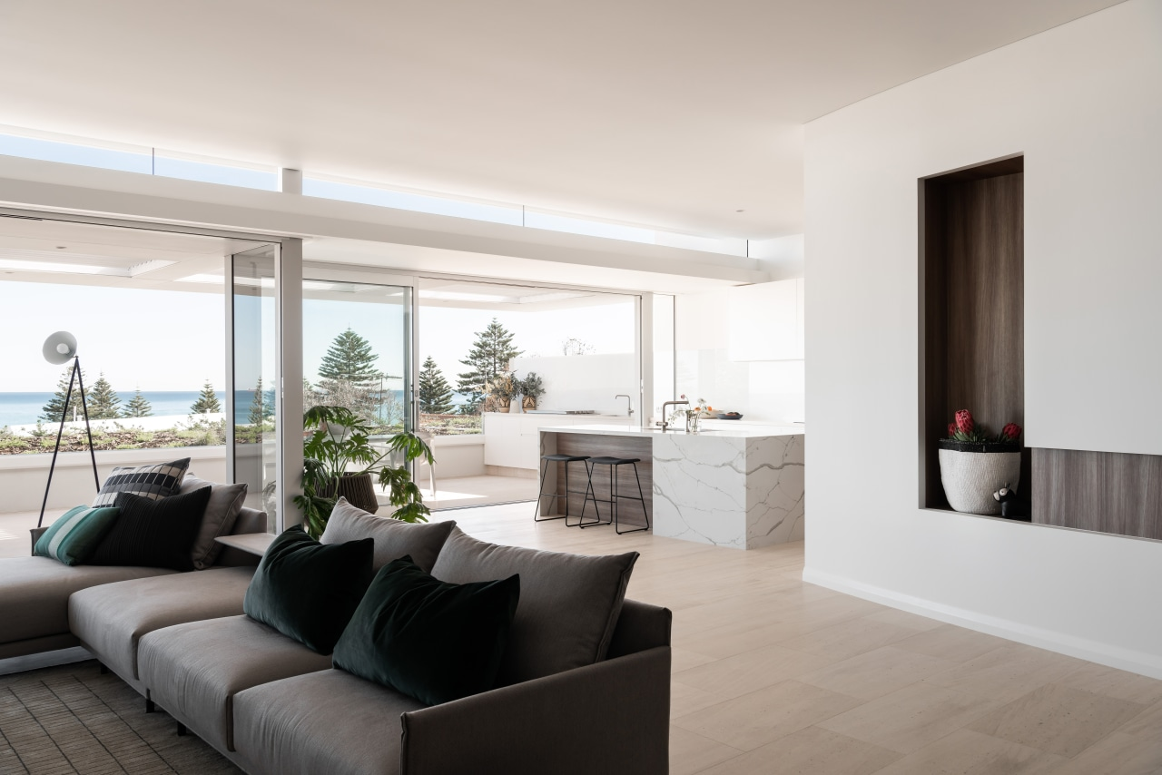 In these luxury seaside Overton Apartments in Cottesloe, apartment, architecture, timber floor, home, interior design, living room, sea views, furniture, furnishings, Banham Architects
