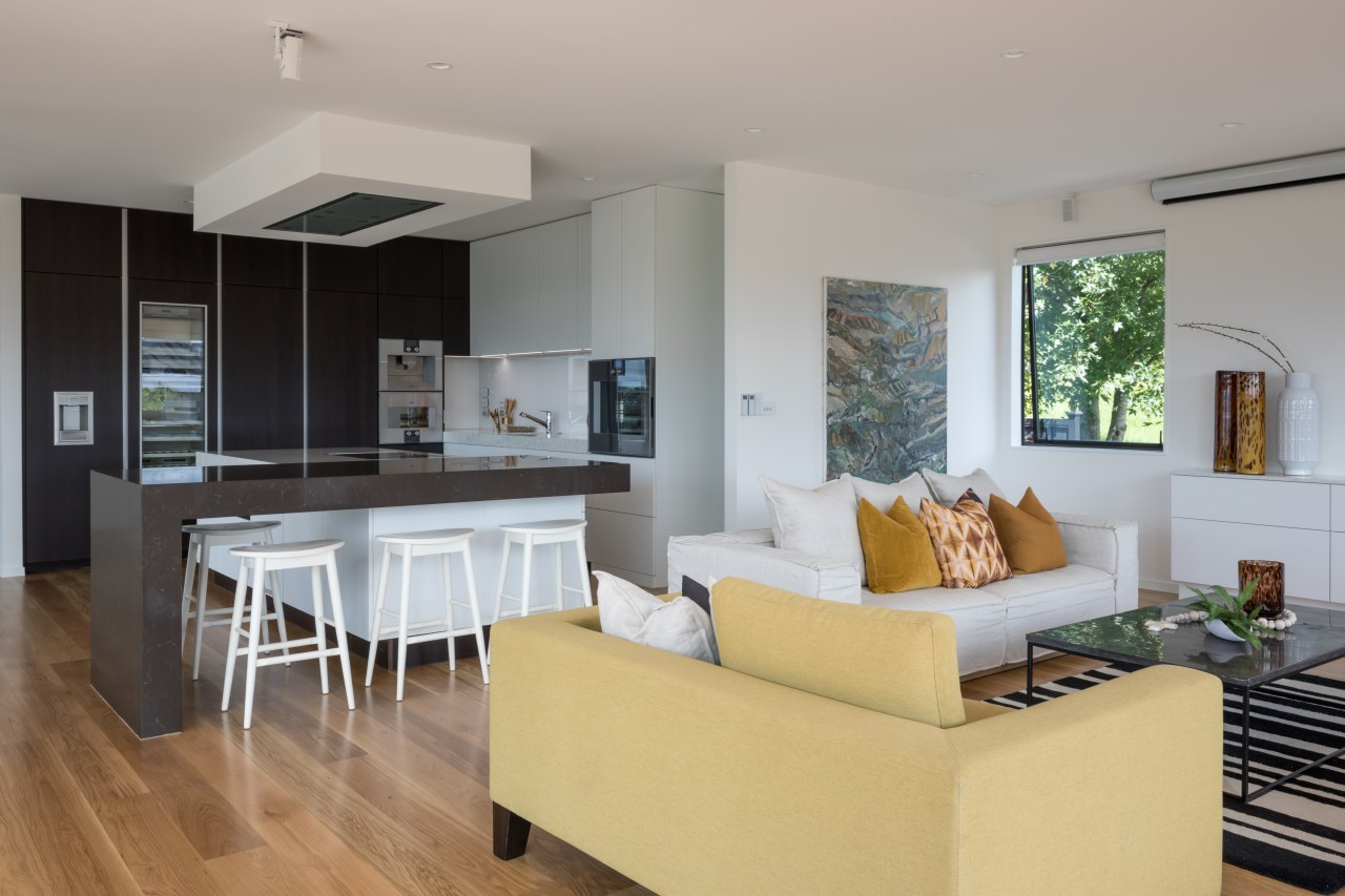 Keeping the children focussed on meals or homework architecture, cabinetry, coffee table, furniture, furnishings, floor, flooring, hardwood, kitchen, living room, Akzente, Poggenpohl, Lara Farmilo