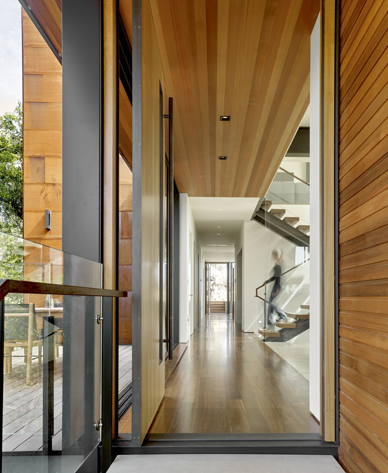 ​​​​​​​From the entrance of this home, there's a architecture, floor, glass, hall, hardwood, home, house, interior design, lobby, entranceway, tiled floor, timber ceiling