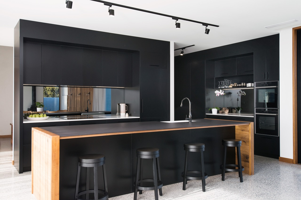 ​​​​​​​Matt black cabinetry sets the scene for this architecture, cabinetry, countertop, kitchen, major appliance, black, white, Impact Kitchens