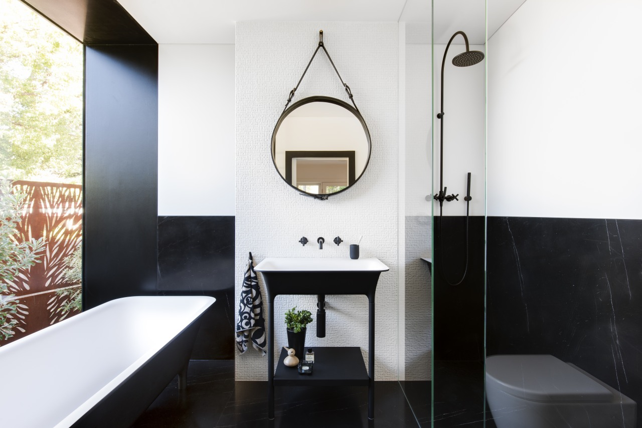 Nz3501Cmmiinosadarrengenner–301106138 01 Hero - architecture | bathroom | architecture, bathroom, black, building, ceiling, floor, flooring, furniture, home, house, interior design, plumbing fixture, property, real estate, room, sink, tap, tile, wall, white, black