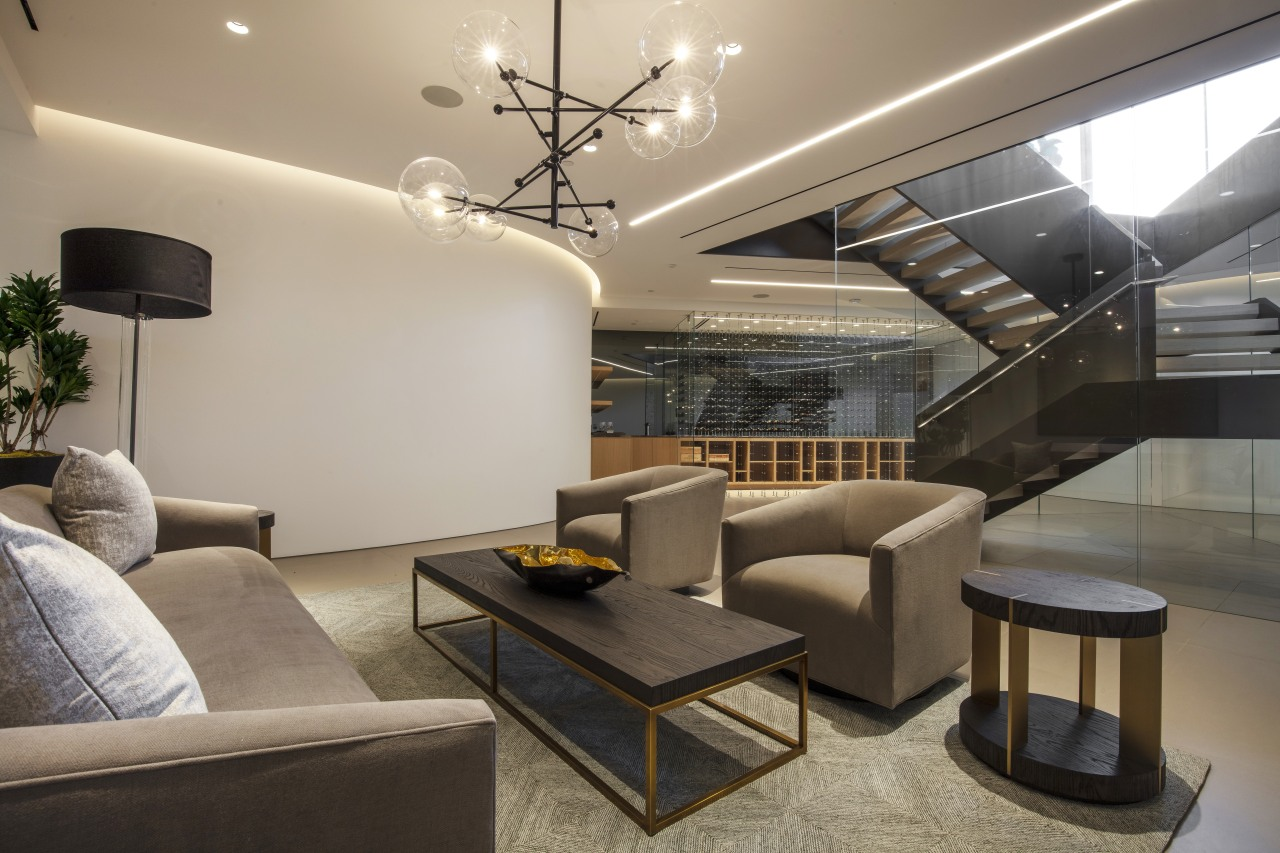 As well as a cinema, sauna, massage and architecture, building, design, flooring, furniture, home, house, interior design, lighting, living room, home cinema, SPFa