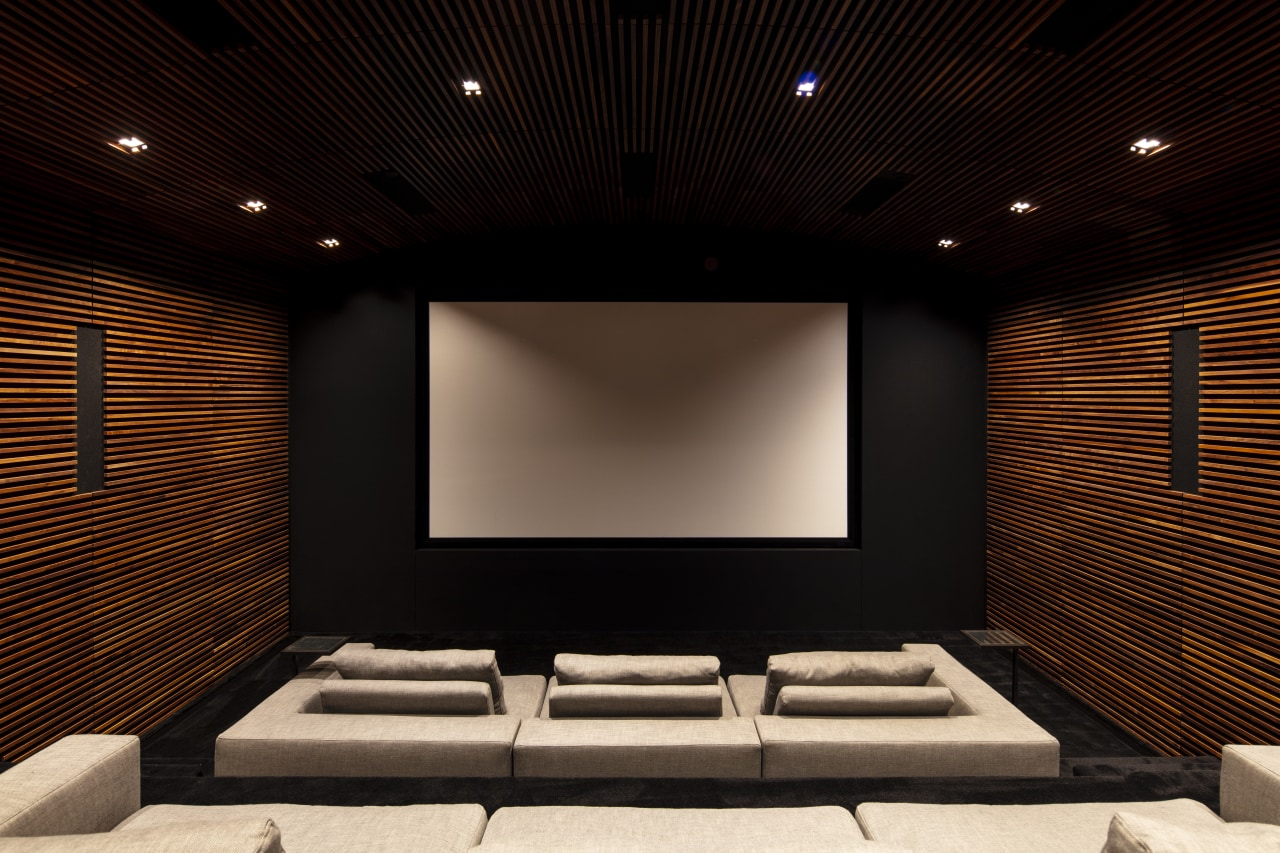​​​​​​​This home theatre was professionally designed and engineered architecture, home theatre, design, electronics, interior design, projection screen, home theatre, technology, SPFa