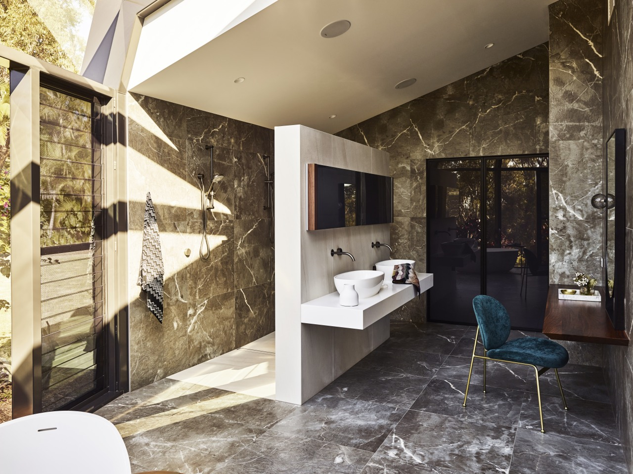 A blade wall provides privacy for the shower architecture, bathroom, design, floor, flooring, home, house, interior design, tile, Darren James, shower zone, cantilevered vanities