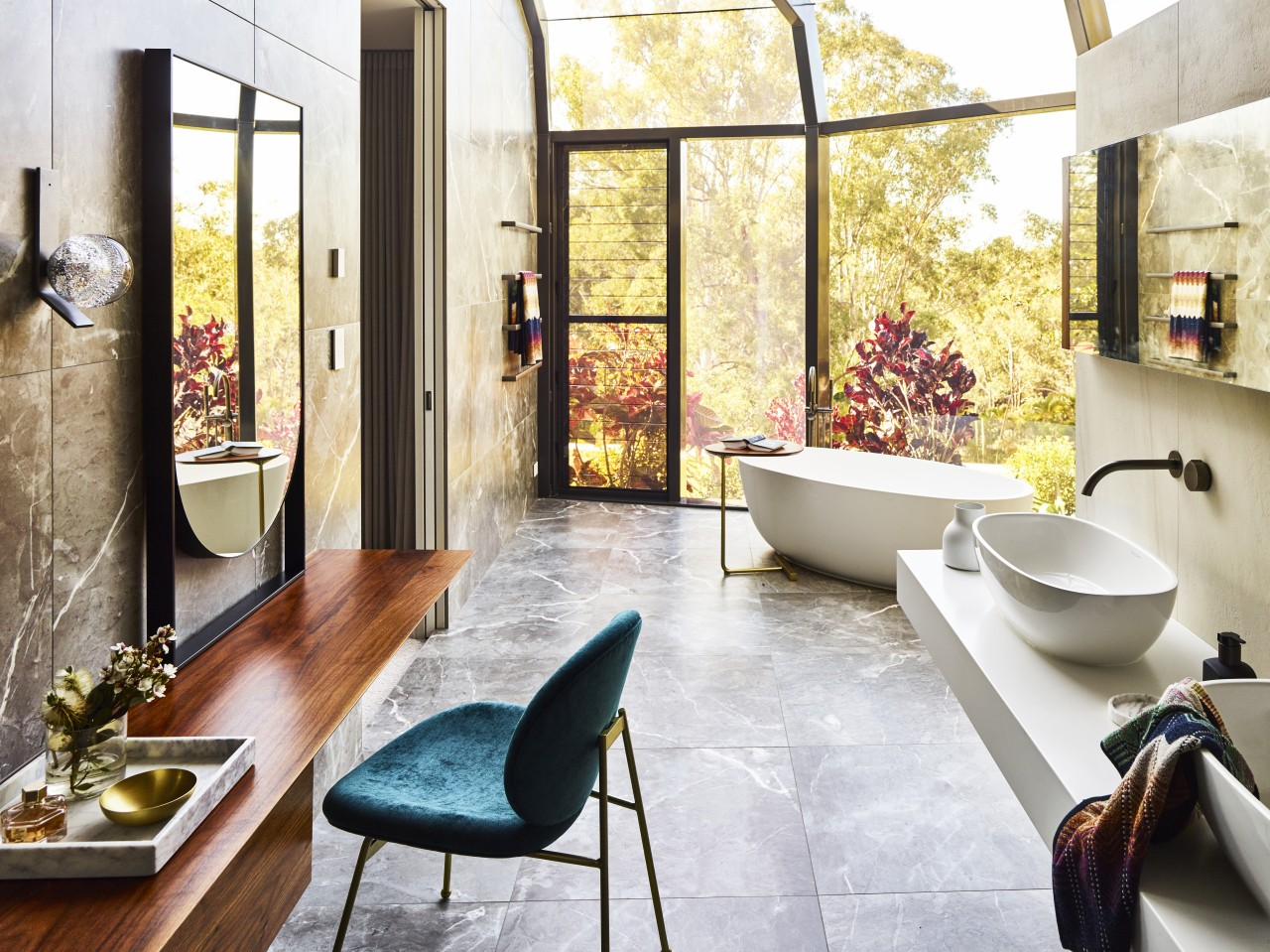 ​​​​​​​Reworked atrium windows add to the immediate connection architecture, bathroom, floor, flooring, furniture, home, house, interior design, tile, Darren James, Bathroom