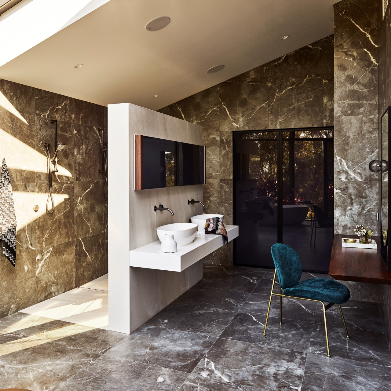 For this master ensuite, designer Darren James concealed architecture, bathroom, design, floor, flooring, furniture, interior design, lighting, tiled wall, Darren James, Bathroom, master suite