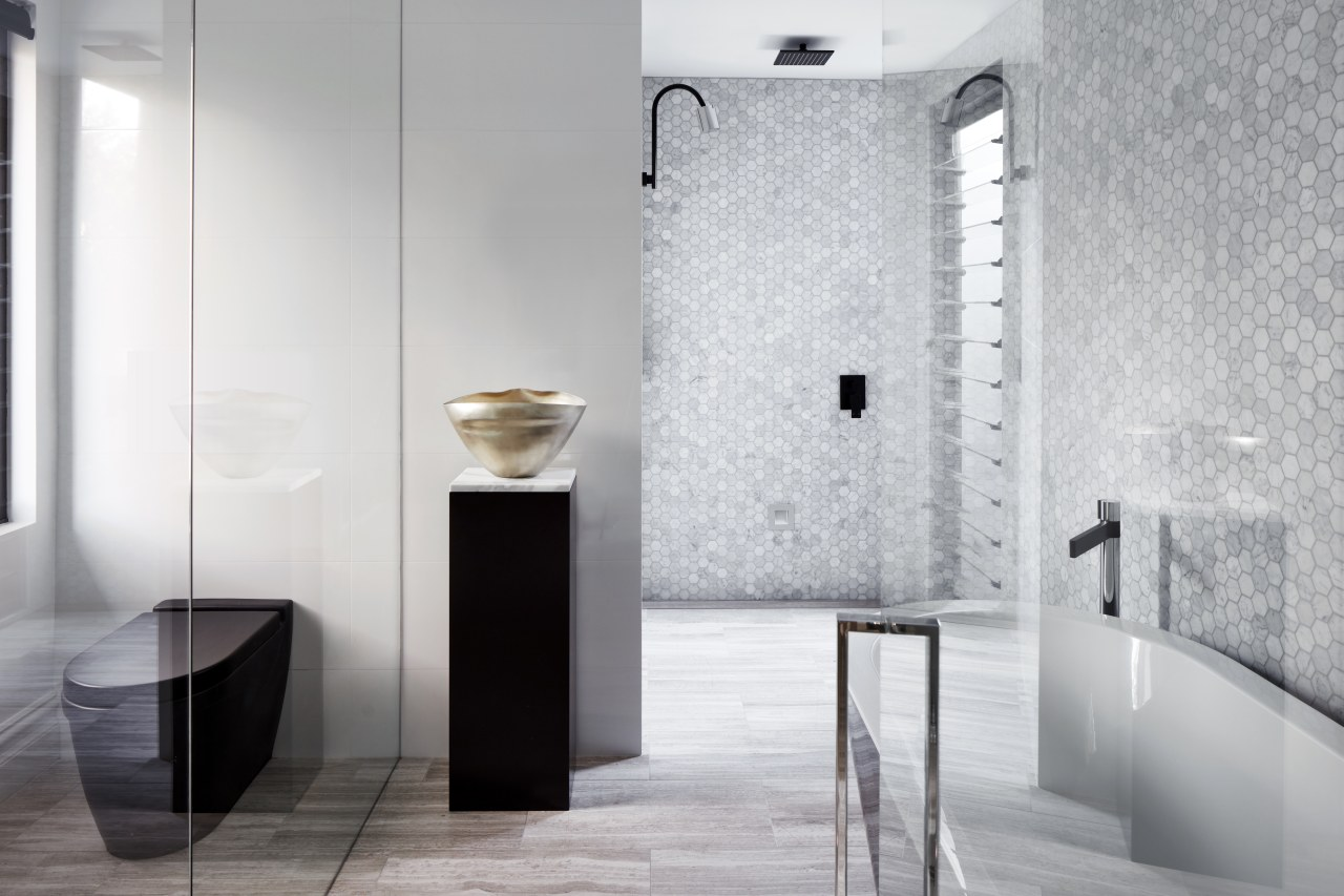 ​​​​​​​Looking more like an art gallery than a architecture, bathroom, black-and-white, interior design, plumbing fixture, shower, tap, tile, Archer Design