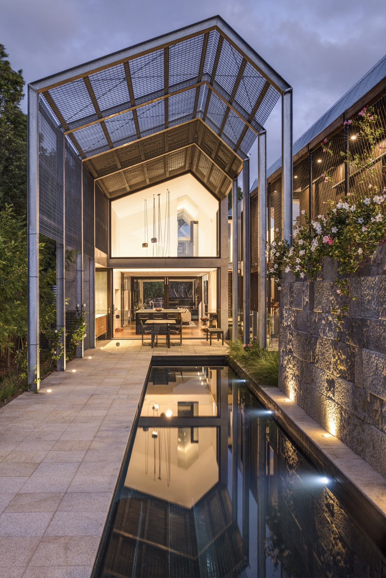 The roof over a covered terrace continues the architecture, building, coverd terrace, courtyard, design, home, house, interior design, roof, room, tree, window, black
