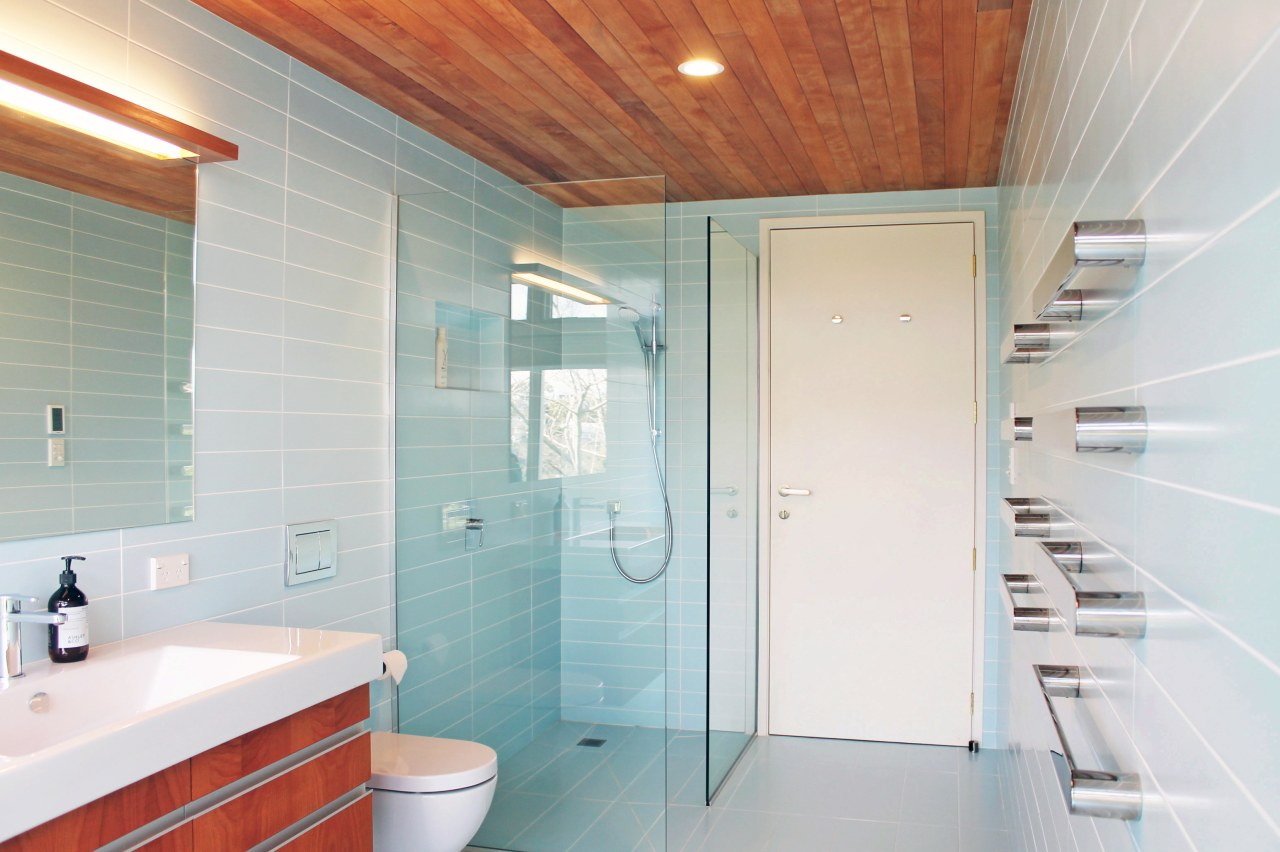 ​​​​​​​For this bathroom, the timber is a favourite architecture, bathroom, home, house, interior design, plumbing fixture, shower, timber ceiling, tiles, subway, blue, Frans Kamermans