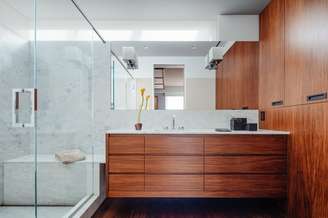 ​​​​​​​Both the owner of this apartment and the architecture, master bathroom, bathroom accessory, cabinetry, hardwood, master bathroom, interior design, tile, wood, Asian Influence, Andrew Wilkinson