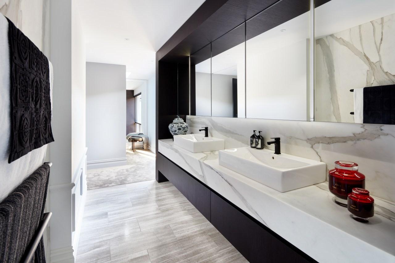 Modern benchtop basins meet classic materials in this architecture, bathroom, bathtub, black-and-white, countertop, vanities, design, floor, flooring, nterior design, marble, plumbing fixture, tap, tile, Archer Design, Basins