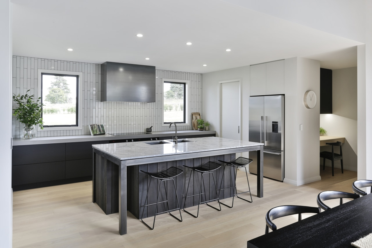 A modest office is separated from this kitchen kitchen, cabinetry, countertop, floor, flooring, furniture, home, house, interior design, kitchen, office, Kyla Potter, Carliele Kitchens