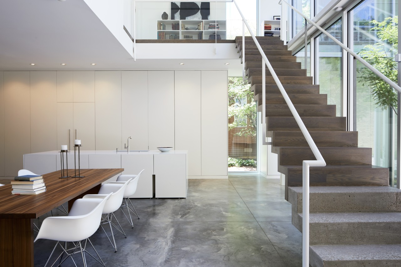 Total integration – the bank of tall cabinetry architecture, building, ceiling, daylighting, floor, flooring, furniture, glass, handrail, hardwood, home, house, interior design, living room, loft, property, real estate, room, stairs, table, tile, wall, wood, wood flooring, gray, white