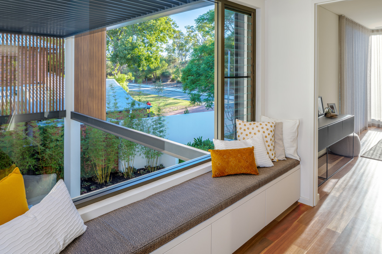 Energy efficiency was part of the design brief architecture, balcony, building, door, floor, furniture, glass, home, house, interior design, property, real estate, room, window, gray