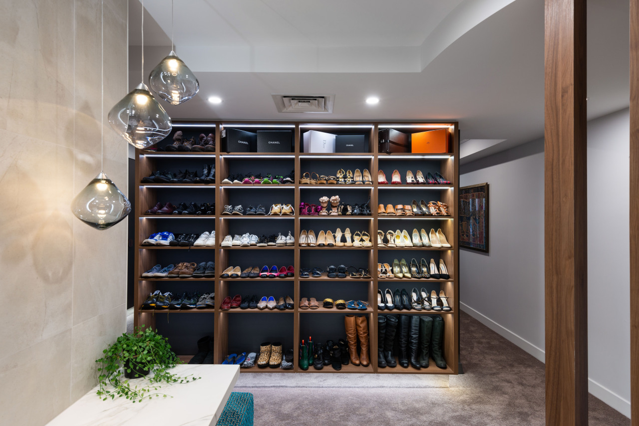 Shoe wardrobe one side, master bedroom headboard the architecture, building, display case, footwear, furniture, interior design, property, room, shelf, shelving, shoe, wine rack, gray