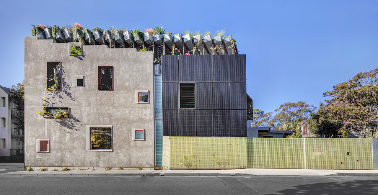Architecture, landscape and sustainability are all integrated in gray, teal